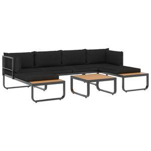 vidaXL 4-tlg. Garten-Ecksofa-Set mit Auflagen Aluminium und WPC