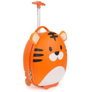 Boppi Tiny Trekker Leichter Kinderreisetrolley zum Ziehen mit Rädern in Handgepäckgröße (17 Liter Fassungsvermögen) - Tiger