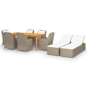 Gartenmöbel Essgruppe 8 Personen ,9-TLG. Terrassenmöbel Balkonset Sitzgruppe: Tisch mit 8 Stühle Braun❀7409