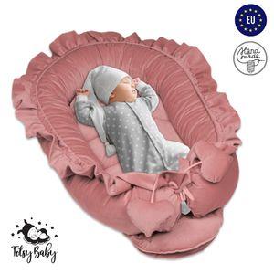 Babynest Nestchen Baby Nest Babynestchen Kokon Kuschelnest für Neugeborene Babybett handmade Velvet Rosa