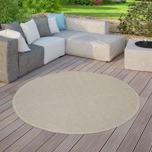 Moderner Outdoor Teppich Wetterfest Für Innen- Und Außenbereich Einfarbig In Beige, Größe:Ø 160 cm Rund