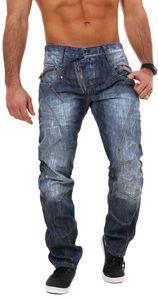 Cipo & Baxx Herren denim Jeans Hose mit schräg verlaufendem Reißverschluss Vintage Look Pants Straight Leg Regular Fit, Grösse:W33/L30, Farbe:Blau (C-0751)