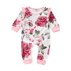 Neugeborene Strampler mit Blumenmuster Jumpsuit Bodysuit Outfits Kleidung 0-3 Monate