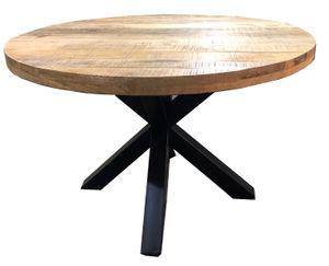 SIT Esstisch rund 120 cm | Tischplatte Mango-Holz | Gestell Metall antikschwarz | B 120 x T 120 x H 77 cm | 15330-11 | Serie TISCHE & BÄNKE