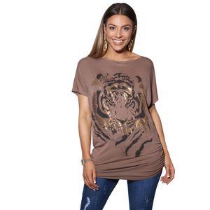 Krisp Damen Oversize-T-Shirt mit Tiger-Design KP188 (46 DE) (Mokka)