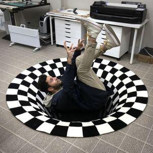 Miixia 3D Printed Round Vortex Illusion Anti-slip Living room Rug Carpet Floor Door Mat 120x120cm