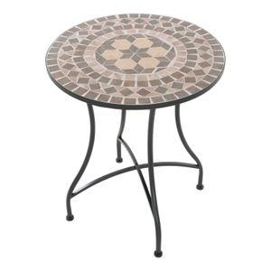 Raburg Mosaiktisch Mayla in BRAUN/BEIGE/BUNT - Gartentisch mit einzigartigem Muster, handgefertigtes Unikat - Rund ø 60 cm, Höhe 70 cm