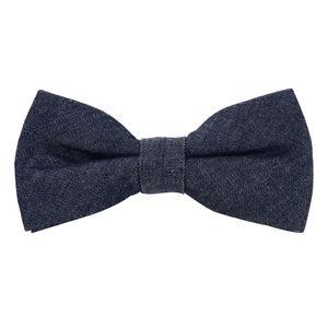 DonDon Herren Fliege 12 x 6 cm Baumwolle gebunden und längenverstellbar Jeans dunkelblau
