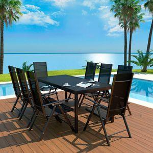 Gartenmöbel Essgruppe 8 Personen ,9-TLG. Terrassenmöbel Balkonset Sitzgruppe: Tisch mit 8 Stühle Aluminium und WPC Schwarz❀6301