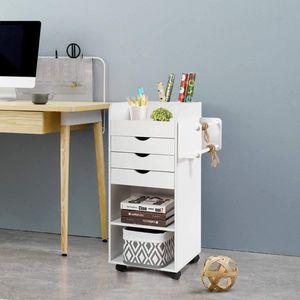 COSTWAY Rollcontainer beiderseitig verwendbar, Aktenschrank auf Rollen, Schubladenschrank Holz, Büroschrank mit Schubladen│Stangen│offenen Fächern, fürs Büro, Arbeitszimmer und Studierzimmer