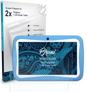 Bruni Basics-Clear 2x Schutzfolie kompatibel mit Padgene 7 Zoll Kinder Tablet Folie