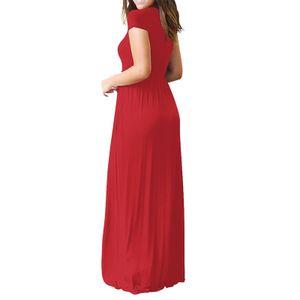 Frauen O-Ausschnitt Casual Pockets Kurzarm bodenlanges Kleid Loses Partykleid Größe:XL,Farbe:Rot