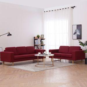 Luxusmode 2-tlg. Sofagarnitur Sofa-Set Stoff Weinrot Wohnlandschaft-Sofa Relaxcouch für Wohnzimmer4489