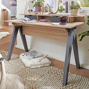 WOHNLING Design Schreibtisch mit Schubladen MASSA Bürotisch Sonoma / Grau 120 cm | Kleiner Nähtisch | Arbeitstisch Büro Skandinavisch | Schreib- und Computertisch mit Regal-Fach