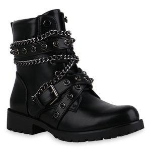 Mytrendshoe Damen Stiefeletten Schnürstiefeletten Stiefel Blockabsatz Schuhe 835427, Farbe: Schwarz, Größe: 37
