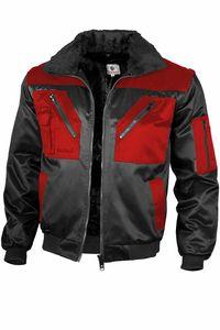 Qualitex Pilotenjacke zweifarbig Unisex 10004 schwarz/rot XXL Arbeitsjacke, Bundjacke Handwerker, Heimwerker, Outdoor, Strassenarbeiter