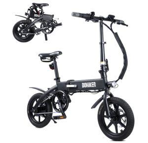 DOHIKER 14 Zoll Elektrisches Fahrrad Electric Bike 250W E-Bike Faltrad E-Bike Citybike Elektrofahrrad mit 10Ah 36V LED Leucht Scheinwerfer 25KM/H Schwarz