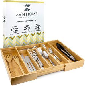 Zen Home ® Besteckkasten - größenverstellbarer Schubladeneinsatz - Küchenhelfer aus Bambus Material - [4X] Noppen am Schubladen Ordnungssystem, um Rutschen zu vermeiden