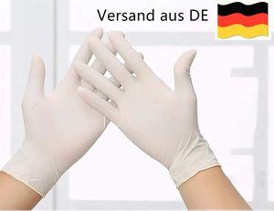 100 Stück Latexhandschuhe in Spender-Box – puderfrei Nicht steril elastisch weiß - Untersuchungshandschuhe Natur – Einweghandschuhe Einmalhandschuhe (L)