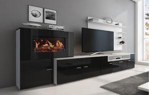 Moderne Wohnwand mit elektrischem Kamin mit 5 Flammstufen, Schrankwand, Wohnzimmer, mattweiß mit schwarzer Front, Maße: 290 x 170 x 45 cm Tiefe.