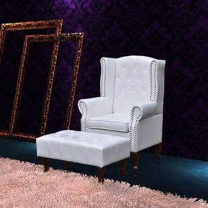 Chesterfield OhrenSessel Modern Design mit Hocker weiß 66x78x111 cm