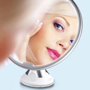 Kosmetikspiegel, 10-Fach Vergrößerung mit LED, 360 ° Schwenkbar, Batteriebetrieben, Weiß