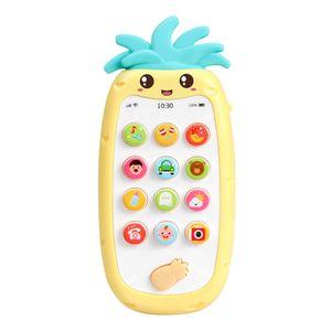 Handy-Spielzeug mit leichter Musik und Sounds Silikon-Beissring Baby Multifunktionales Smartphone-Spielzeug fuer Babys Kleinkinder Kleinkinder 6 Monate +【gelb】
