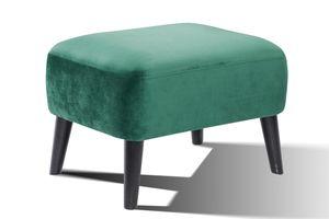 SalesFever Polsterhocker | Stoffbezug in Samt | Beine Hevea Holz schwarz | Vollpolsterung | B 65 x T 49 x H 45 cm | seegrün