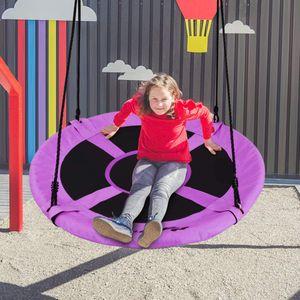 GOPLUS Schaukel Nestschaukel Hängeschaukel Rundschaukel Tellerschaukel Garten-Schaukel Kinderschaukel Outdoor-Schaukel, aus PP und Oxford-Gewebe, 150 kg belastbar, Durchmesser 100cm (Lila)