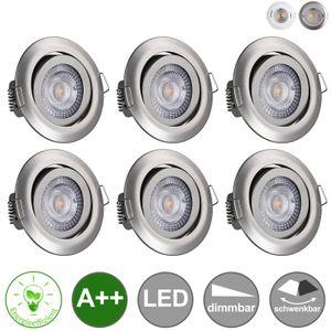 monzana 6er Set LED Einbauleuchte dimmbar Einbauspots schwenkbar Einbaustrahler, Farbe:weiß