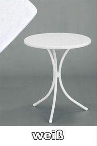 SIEGER Gartentisch / Bistrotisch rund Ø 60 cm weiß Stahl