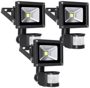 Greenmigo 3 Stück 10W LED Fluter Strahler + Bewegungsmelder Scheinwerfer Flutlichtstrahler(warmweiss 10W)