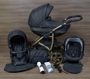 LUXUS Kombi Kinderwagen  3 in 1 Komplettset -grau/schwarz/gold R7 hardgummi