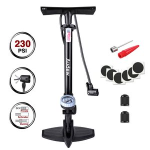 Sunnyme Fahrradluftpumpe (Schwarz) Fahrradpumpe mit übersichtlichem Manometer Display Luftpumpe Fahrrad für alle Ventile