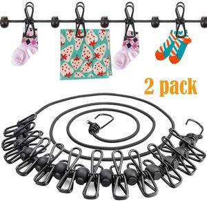 2er-Pack tragbare Reisenwäscheleine, 12 Pins, elastisch, einziehbar, Winddicht, Wäscheleine mit 12 Wäscheklammern, 13 rutschfest, für Hinterhof, Urlaub, Hotel, Reisen, Camping, Kleidung