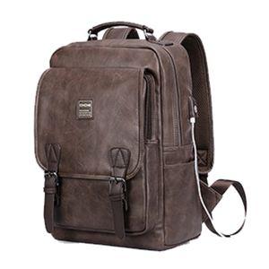 PU Kunstleder Retro Rucksack fuer Maenner USB Port Laptop Computer Bookbag College Wochenendreise Outdoor Daypack (Kaffee)