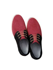 Herren Schnür-Loafer Bequeme Oxford-Schuhe Wildleder Lässige Business-Schuhe,Farbe: Rot,Größe:39