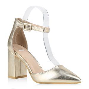 Mytrendshoe Damen Spitze Pumps Chunky High Heels Blockabsatz Party Schuhe 826011, Farbe: Gold, Größe: 37