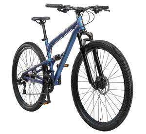 BIKESTAR Vollgefedert Aluminium Mountainbike 29 Zoll, 21 Gang Shimano Schaltung mit Scheibenbremse   17,5 Zoll Rahmen Fully MTB Erwachsenen- und Jugendfahrrad   Blau