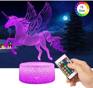 3D Einhorn LED Nachtlicht , 16 Farben Wählbar Dimmbare Touch Schalter Nachtlampe Geburtstag ,Frohe Weihnachten Geschenke Für Kinder