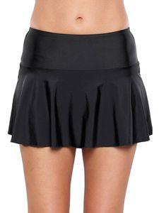 (Schwarz,XXL)Sexydance Damen Badekleid Hohe Taille Baderock Mit Slip Plissee Badehose Bademode Shorts Strandkleidung