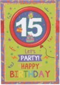 Originelle Klappkarte mit Zahlen Geburtstagskarte Zahlenmotiv zum 15.Geburtstag