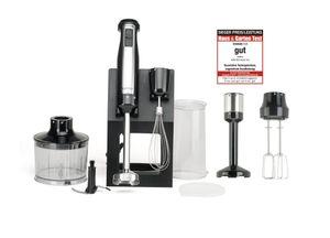 KeMar Kitchenware KSM-800 Stabmixer | Basis -Set | Edelstahldesign | BPA-frei | Aufbewahrungsständer | Titanklinge | 800 Watt | Turbotaste