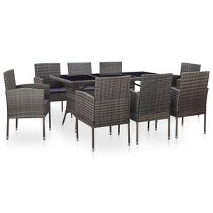 Huicheng 9-tlg. Poly Rattan Sitzgruppe Garten-Essgruppe Gartenmöbel Sets mit Auflagen, Glasplatte Tisch und 8 Rattan Stühle Grau