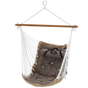 SONGMICS Hängesessel mit Kissen 70 x 120 cm, XL Affenschaukel mit Polsterung, Hängestuhl mit Bambusstange, bis 200 kg belastbar braun-grau GDC46CG
