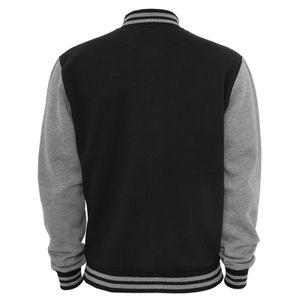 Urban Classics - 2-tone College Sweatjacke, College Jacke TB207 black/grey Größe XL