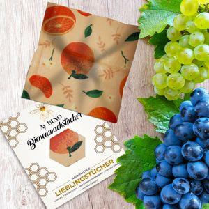 Bienenwachstücher 3er Pack - AY BINO Lieblingstücher Orange Wachspapier | nachhaltige Baumwolltücher umweltfreundlich ökologisch wiederverwendbar