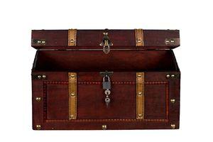 Truhe AX4017 Abschließbar MIT Schloss Holztruhe Schatzkiste Kiste Piratenkiste, Größe:Größe M 40 x 19 x 22cm
