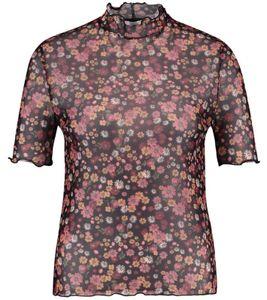 CATWALK JUNKIE TS Hippie Thought Kurzarm-Shirt durchsichtiges Damen Blumen-Shirt Schwarz/Bunt, Größe:S