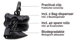 Hundekotbeutel mit 2 Beutelspender und Leinenclip, 600 Stück, schwarz